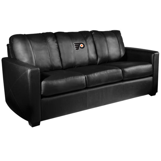 Silver Sofa with Philadelphia Flyers Logo