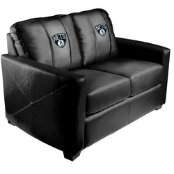 Silver Loveseat with Brooklyn Nets Logo