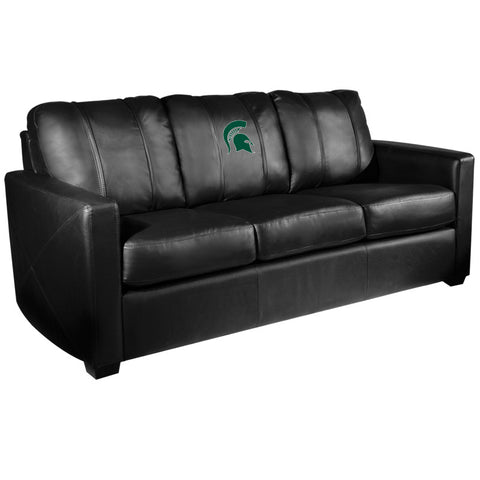 Silver Sofa with Michigan State Spartans Logo