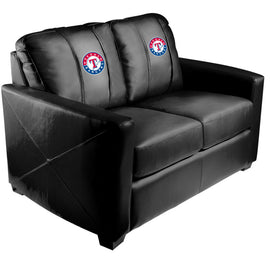 Silver Loveseat with Texas Rangers Logo