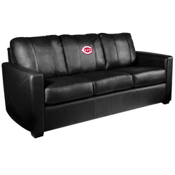 Silver Sofa with Cincinnati Reds Logo
