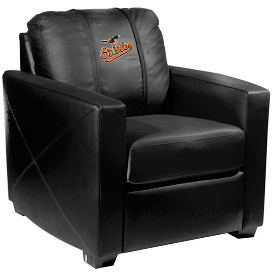 Silver Club Chair with Baltimore Orioles Logo