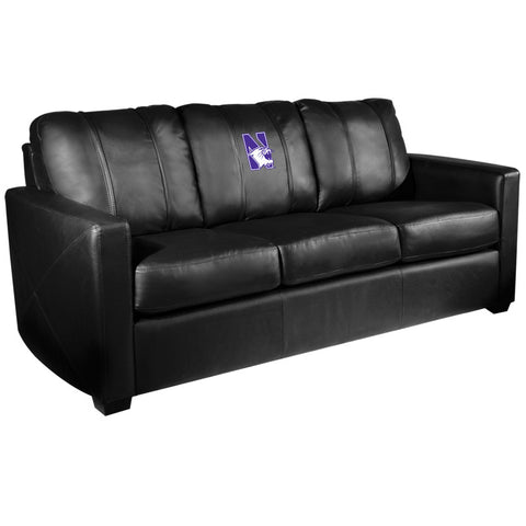 Silver Sofa with Northwestern Wildcats Logo