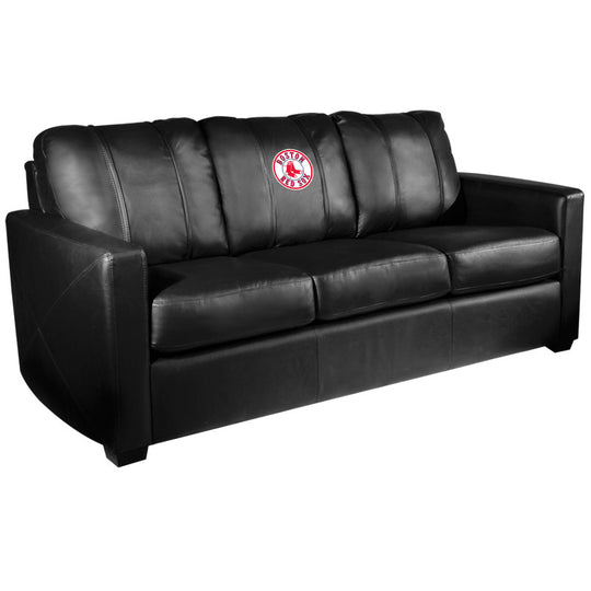 Silver Sofa with Boston Red Sox Logo