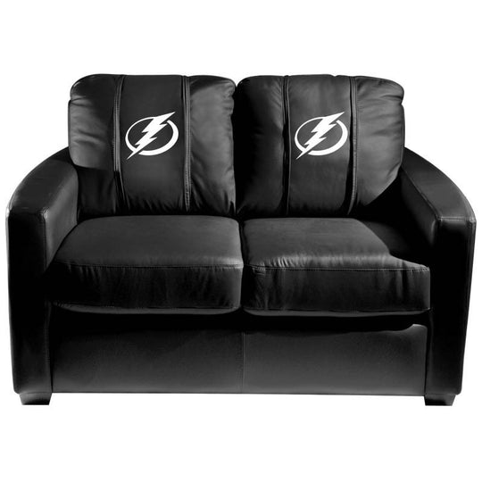Silver Loveseat with Tampa Bay Lightning Logo