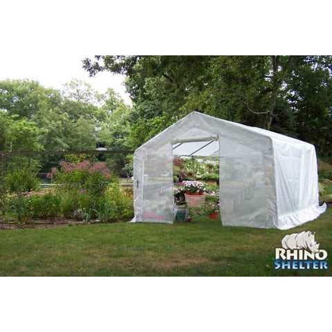 Rhino Shelters Instant Portable Greenhouse 12x20x8 GH122008H Peak Point - Green Thumb Houses