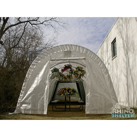 Rhino Shelters Instant Portable Greenhouse 12x20x8 GH122008R Round - Green Thumb Houses