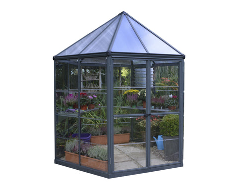 Palram Oasis Hexagonal Greenhouse HG6016 7x8 - Green Thumb Houses