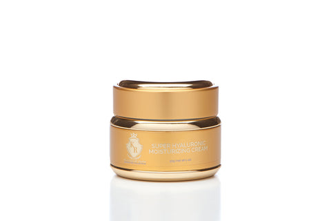 Image of Super Hyaluronic Cream. Combining the highest concentration of Hyaluronic Acid, Squalane, and new sugar technology, Super Hyaluronic Cream is the ultimate nourishing cream for smoother, softer, younger-looking skin. This comprehensive formulation for superior hydration is proven to harmonize skin's hydrous flow as it regenerates and protects against environmental factors.