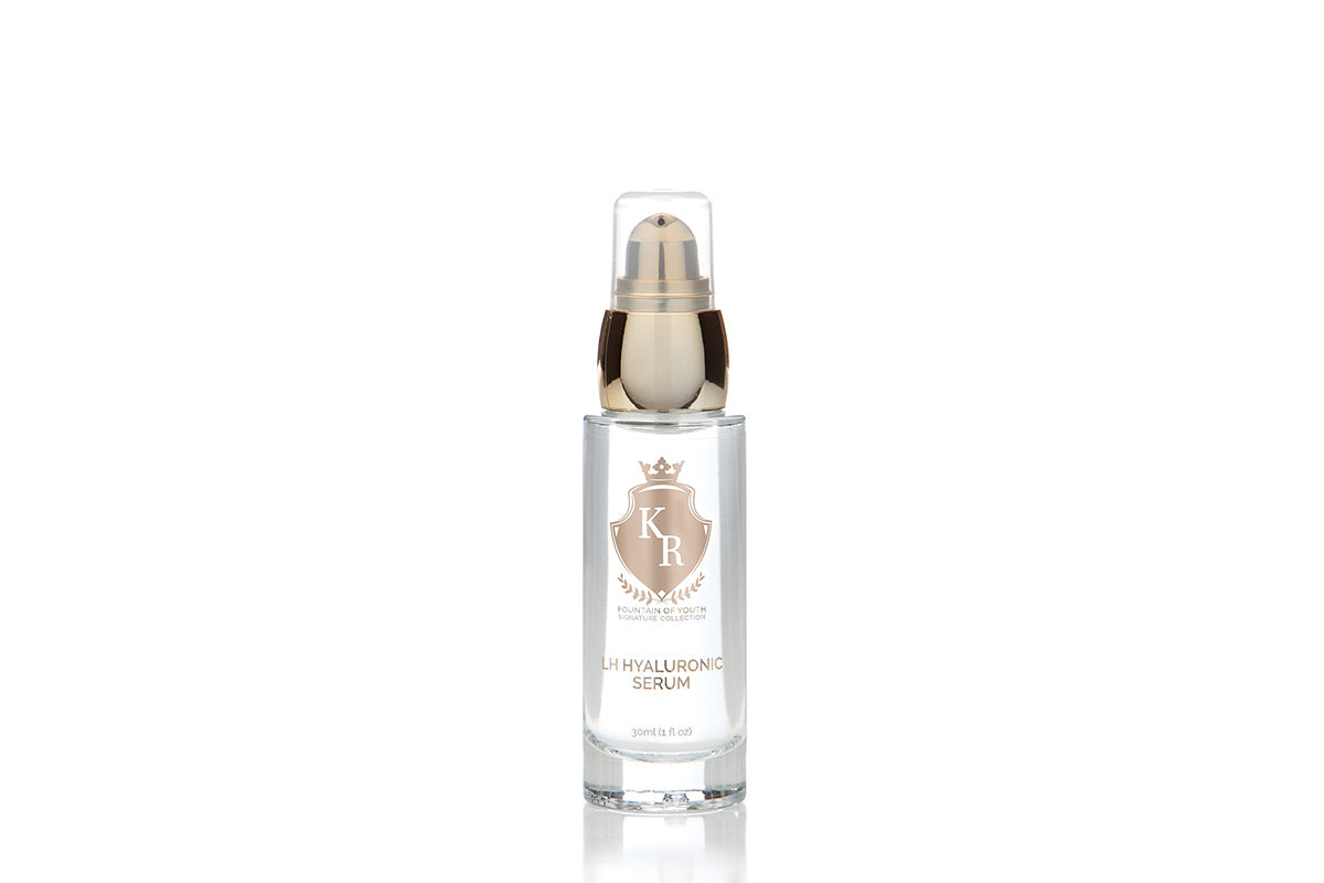"Image of Kelly Roberts ""Fountain of Youth"" LH Serum 100% Hyaluronic. Kelly Roberts ""Fountain of Youth"" LH Serum 100% Hyaluronic combines two Hyaluronic molecules with different molecular weights Hyaluronic Acid: Low & High (LH) into one intense moisturizing serum that utilizes the unique characteristics and benefits of these two types of Hyaluronic Acid."