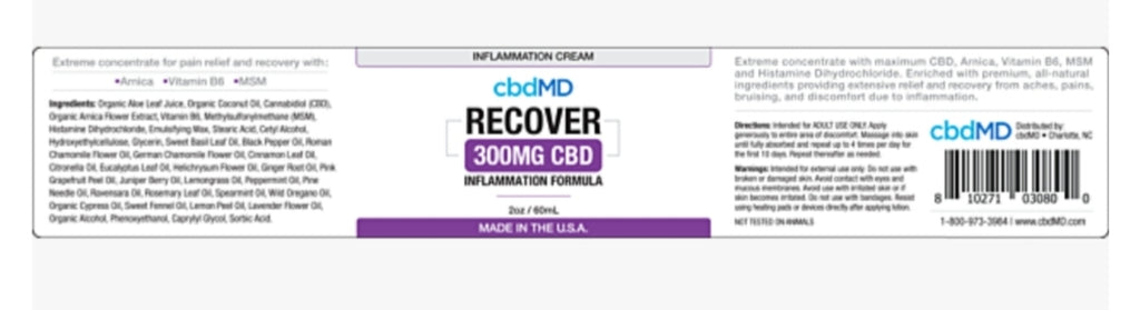CBD MD Inflammation Cream - 2oz - 300mg
