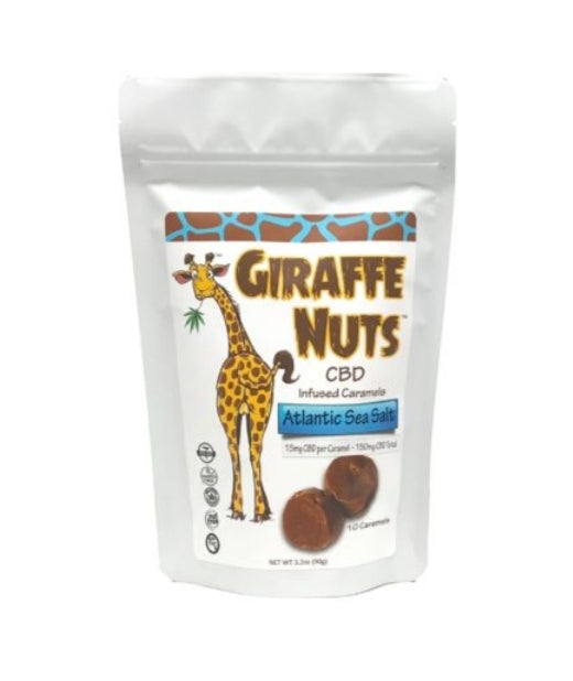 Giraffe Nuts Infused Caramels | Creamy Vanilla | 15mg Hemp CBD per piece - 10 Pieces Per package