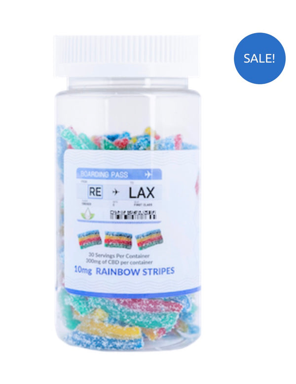 RE-LAX CBD Gummies – 10mg Rainbow Stripes