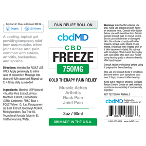 cbdMD 3oz Freeze Roller-750mg