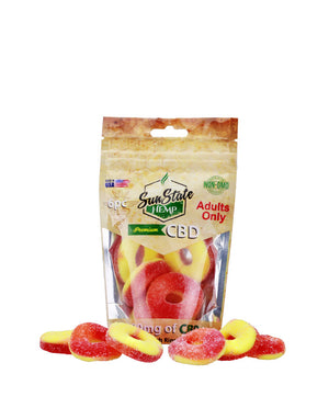 GUMMY PEACH RINGS 180MG - 6PC BAG