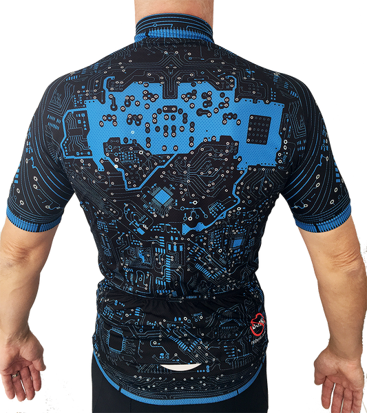 Boutique cycling jersey with unique circuit board design. Ride like a machine? Look like one too. Put a NoBonk on your back or gift that machine of a rider.