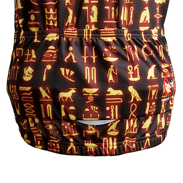 Inspired by Egyptian hieroglyphics this unique cycling jersey is one of a kind. Ride with pyramid power on your back.