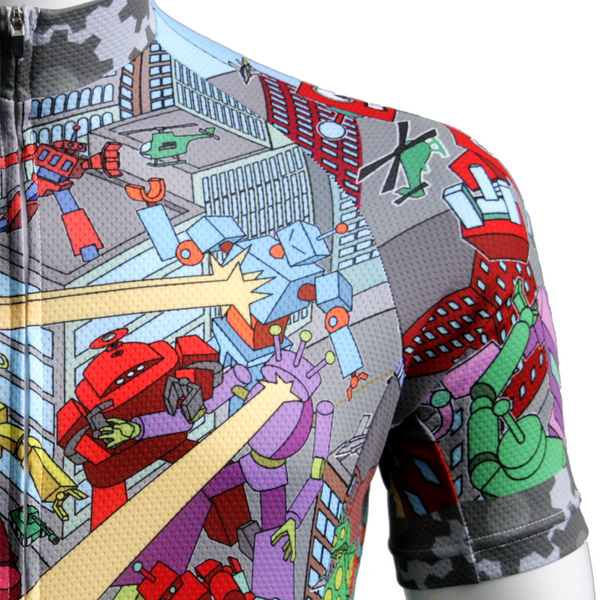This might be your favourite piece of cycling gear, a jersey inspired by two robot teams battling in a cityscape. Join the battle or recruit someone and give as a gift.