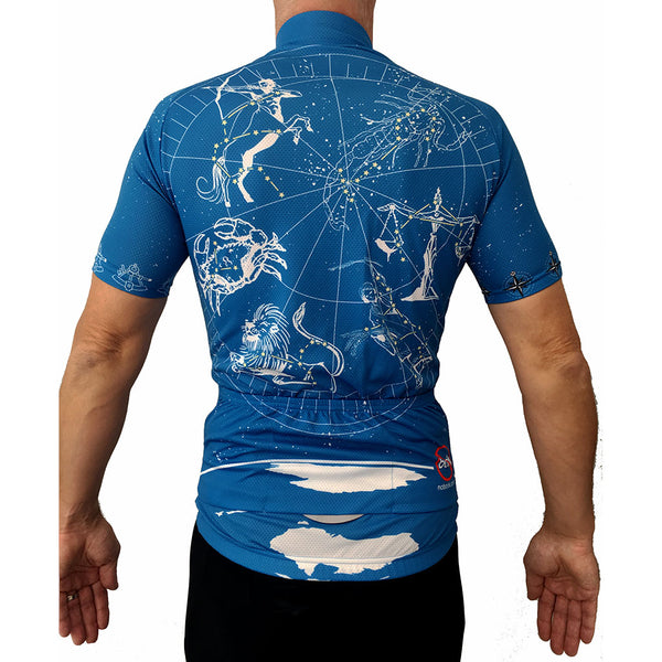 The Star Chart cycling jersey contains all 12 of the zodiac signs and is truly unique. Ride under the stars or a great gift for the astrological rider.
