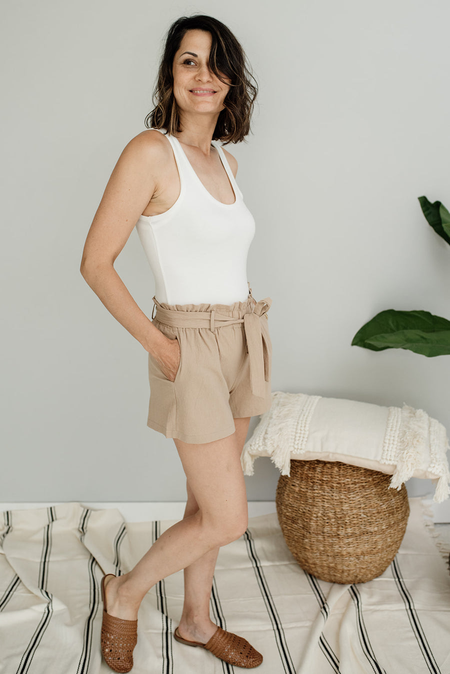 Colette High Waisted Paperbag Shorts - Cloth + Cabin