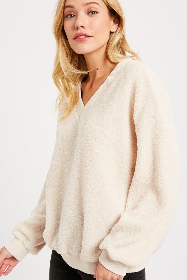 Allie Fluffy V-Neck Sweater - Cloth + Cabin