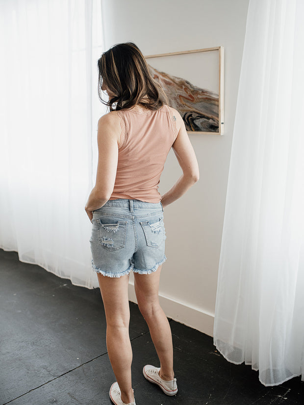 Honey Mid-Rise Distressed Denim Shorts - Cloth + Cabin