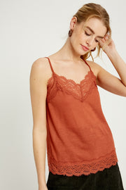 Gwen Lace Trimmed Cami - Cloth + Cabin