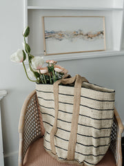 Jute Striped Tote w/ Handles - Cloth + Cabin