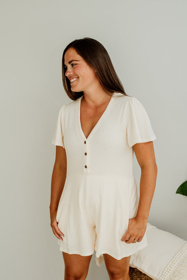 Grier Knit Button Placket Romper - Cloth + Cabin