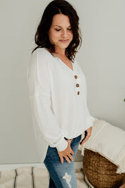 Maegan V-Neck Henley Top - Cloth + Cabin