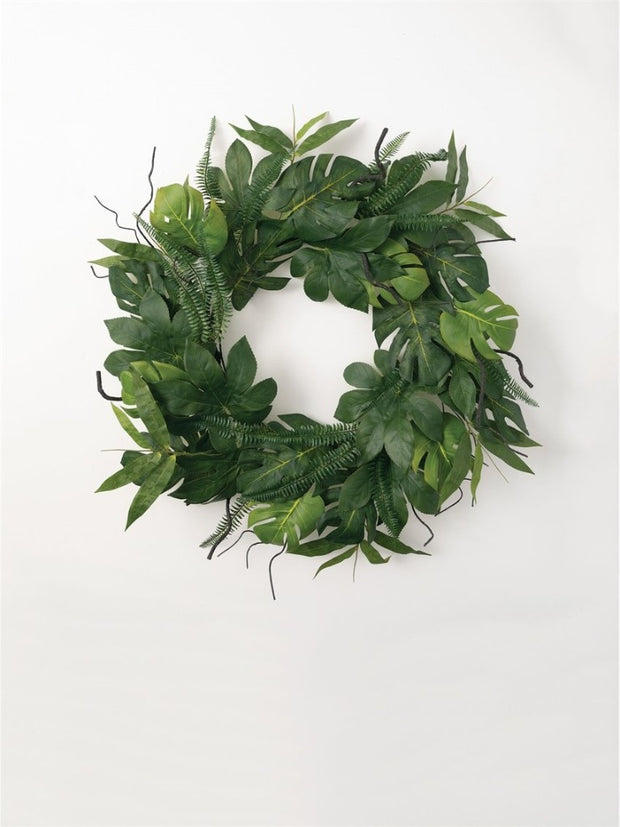 Faux Tropical Leaf Wreath - Cloth + Cabin
