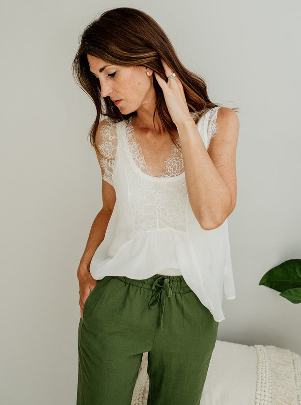 Heather Lace Detail Top - Cloth + Cabin