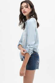 Beatrice Tencel Button Down Tie Top - Cloth + Cabin