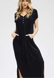June Button Detail Maxi Dress - Cloth + Cabin