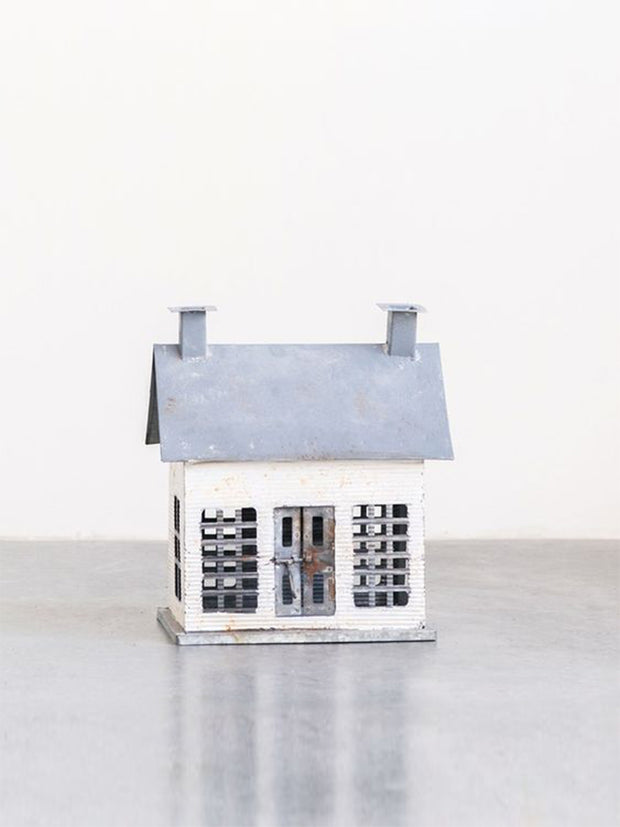 Distressed White Metal House - Cloth + Cabin