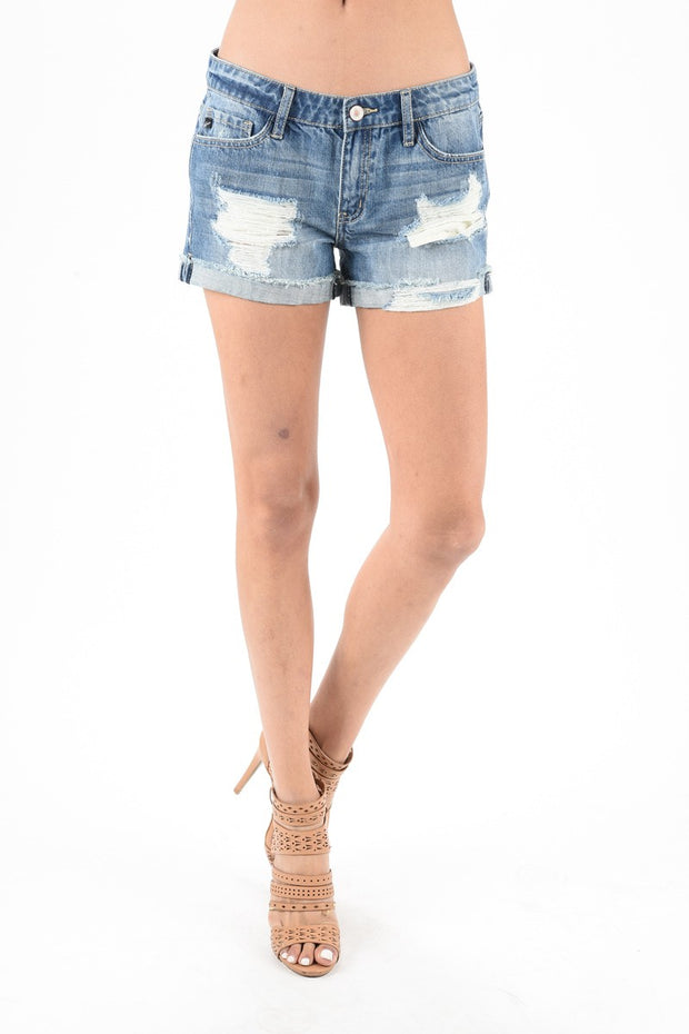 Liv Mid-Rise Distressed Denim Shorts - Cloth + Cabin