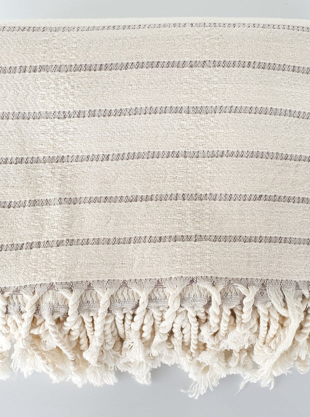 Deniz Grey Stripe Turkish Throw / Towel