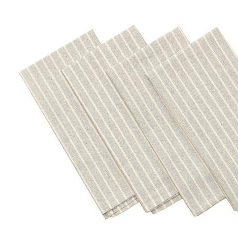 Grey Striped Cotton Napkins / Set of 4