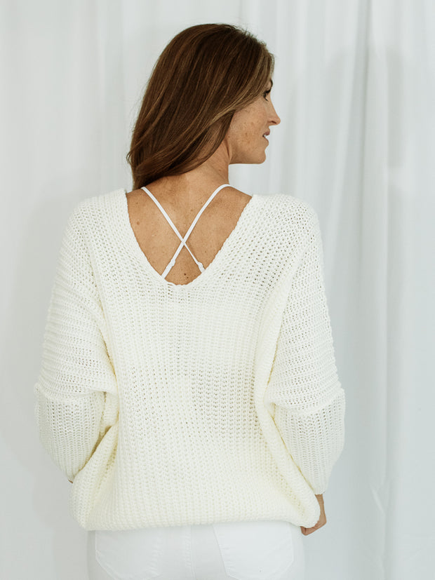 Leah Chunky Knit V-Neck Sweater