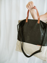 Leather + Canvas Two Tone Tote Bag