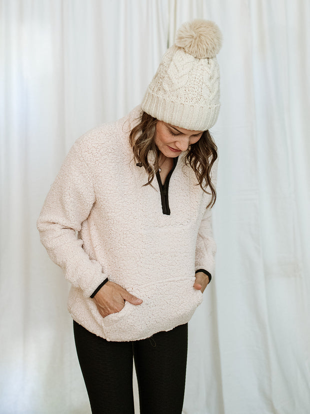 Sherpa Fleece Half Zip Up Pullover Top