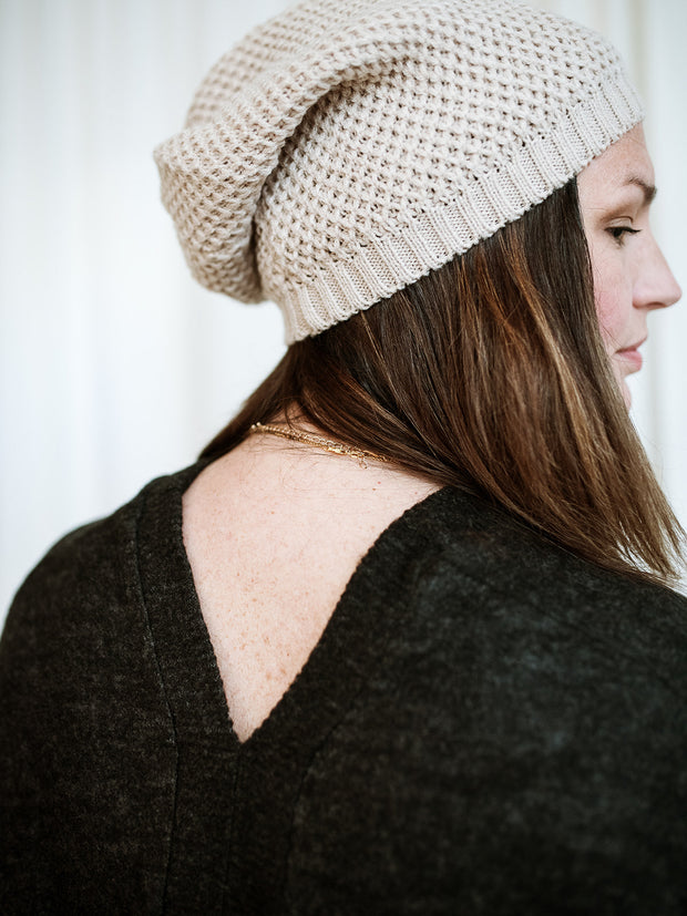 Waffle Knit Slouch Beanie