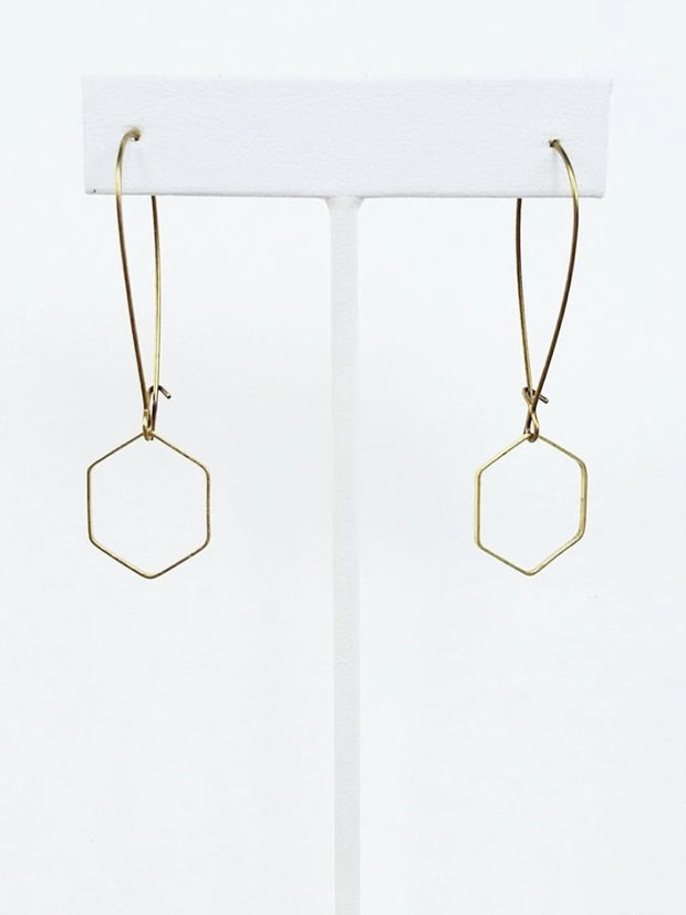 Esther Brass Open Hex Earrings - Cloth + Cabin