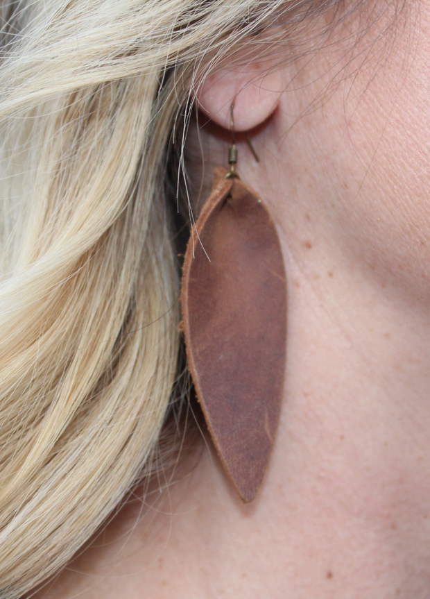 Long Leather Leaf Earrings - Cloth + Cabin