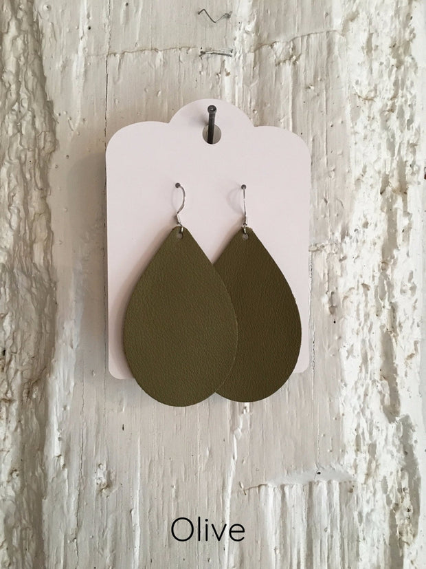 Leather Teardrop Earrings - Cloth + Cabin