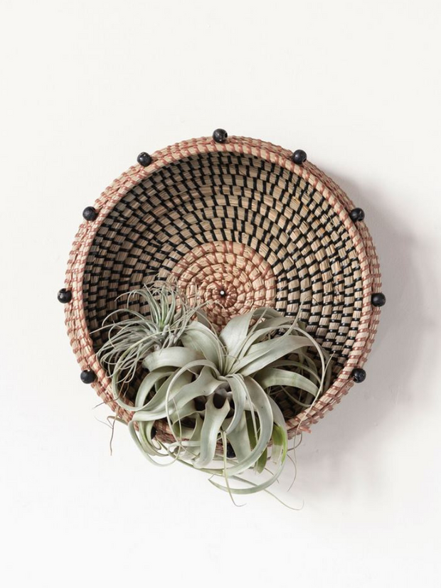 Black Beaded Wall Basket - Cloth + Cabin