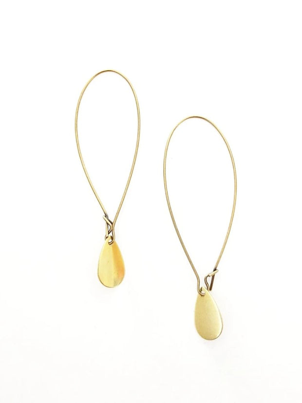 Esther Mini Brass Teardrop Earrings - Cloth + Cabin