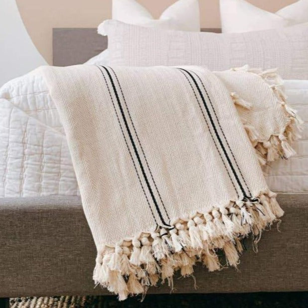 Sophie Cream w/ Black Stripe Turkish Throw - Cloth + Cabin
