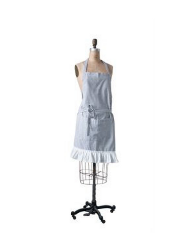 Ticking Stripe Ruffle Apron / Mother + Daughter - Cloth + Cabin