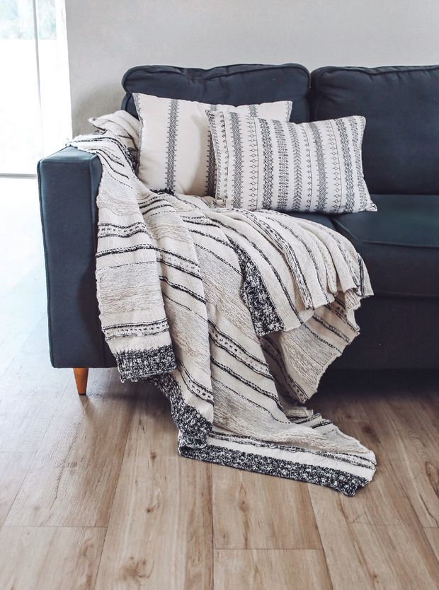 Karla Neutral Striped Throw - Cloth + Cabin